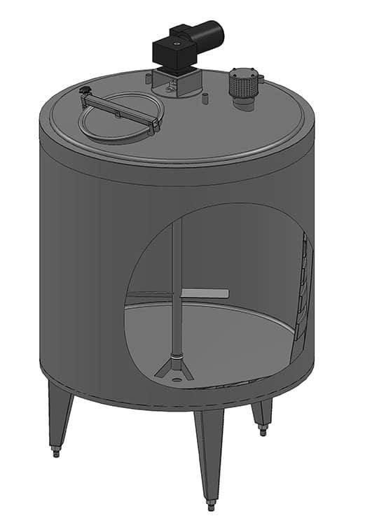 Резервоар със серпентина, изолация и бъркалка